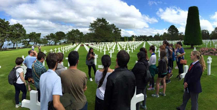 Yashodhara Suri of FIU presents her project at the Normandy American Cemetery in Colleville-sur-Mer