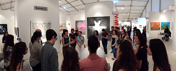 Carol Prusa with A&V students at Art Miami