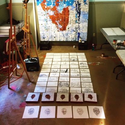 Bailly's works on paper in the Power House Studio at Deering (Photo: JW Bailly CC BY 4.0)