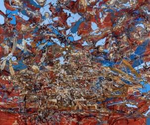 John William Bailly. Puerto Ayora, 2007. Oil on canvas. 68 x 82 in/173 x 208 cm