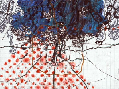 John William Bailly. Westchester (Place of Mind with Richard Blanco), 2007. Mixed media on paper. 22 x 30 in/58 x 76 cm. Collection of Richard Blanco and Mark Neveu