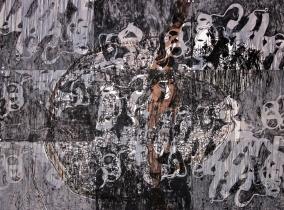 John William Bailly. Field of Blackbirds 1389, 2008. Mixed media on paper. 66 x 90 in/152 x 229 cm.