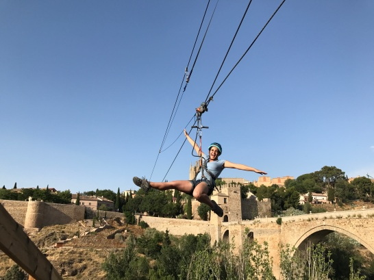 Amelia Leon of FIU zip-lining in Toledo. (Photo by JW Bailly CC BY 4.0)