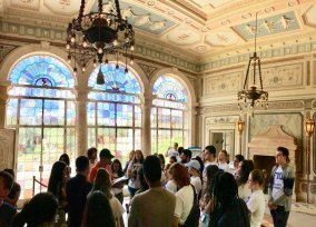 Poet and Professor Richard Blanco reads to FIU Honors College students on a tour of Vizcaya (Photo by JW Bailly CC BY 4.0)