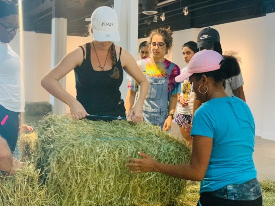 ASC 2018-2019 working on Robert Chambers's Hay Installation at Bakehouse Art Complex (Photo by Liliana Fonte CC by 4.0)