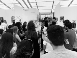 Omar López-Chaoud, former FIU alum and the Artistic Director of UNTITLED, Art., speaks to the students of ASC/PAC Fall 2018 © Liliana Fonte