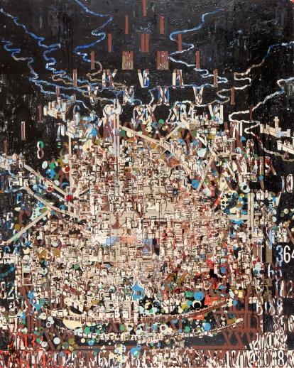 JW Bailly. Tenochtitlan, 2016. Oil on canvas. 87 x 67 in/210 x 170 cm. Courtesy of LnS Gallery.